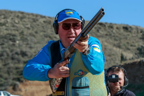 NICOSIA - MARCH 20: Gold medalist Mikola MILCHEV of Ukraine competes in the Skeet Men Finals at the Nicosia Olympic Shooting Range during Day 2 of the ISSF World Cup Shotgun on March 20, 2016 in Latsia - Nicosia, Cyprus. (Photo by Nicolo Zangirolami)