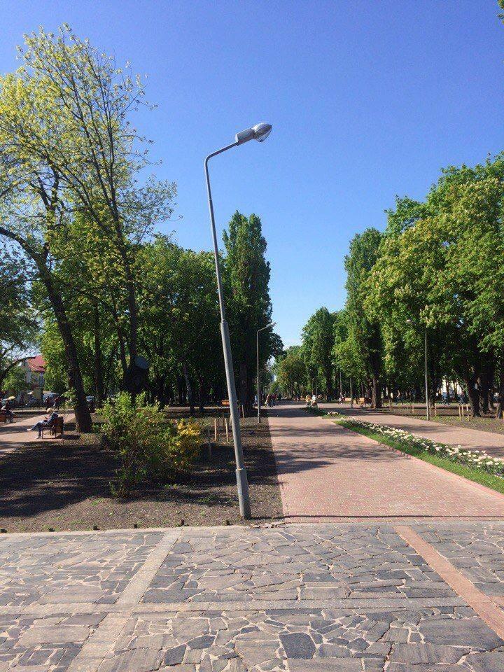 У чернігівському парку «захворів» ліхтар (Фото)