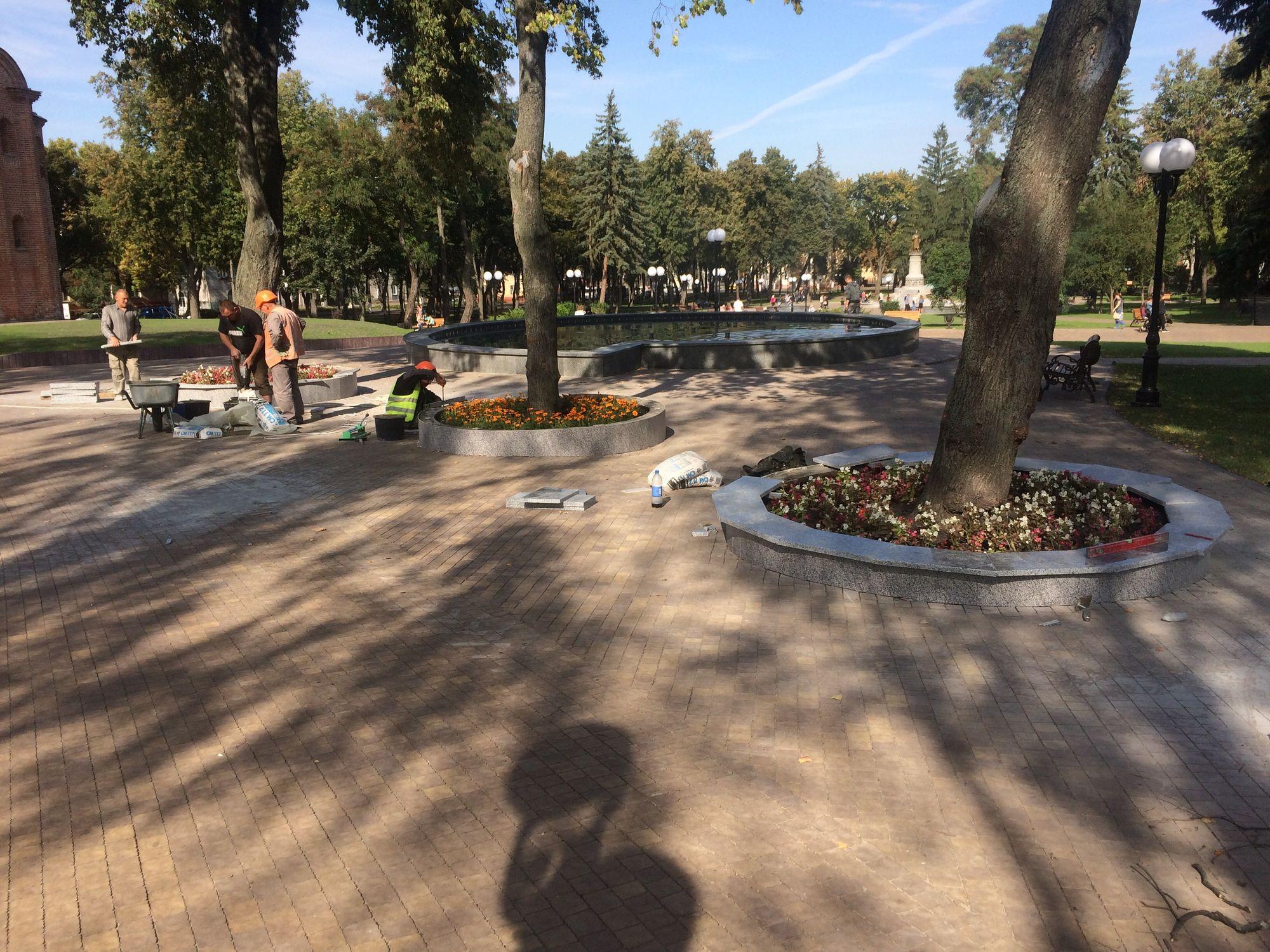 У чернігівському парку навколо дерев з'явились три маленькі клумби (Фото)
