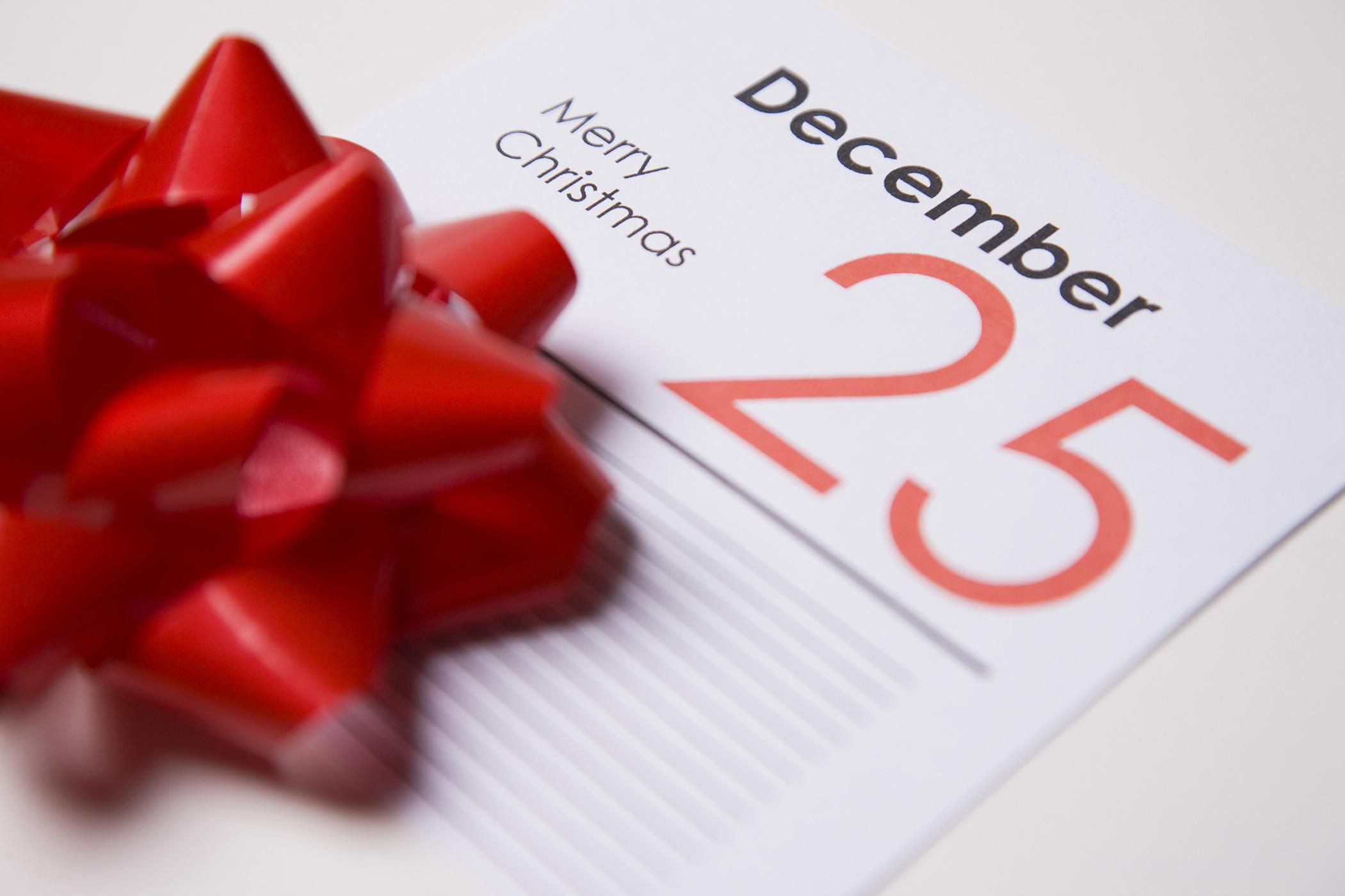 25th of December calendar card