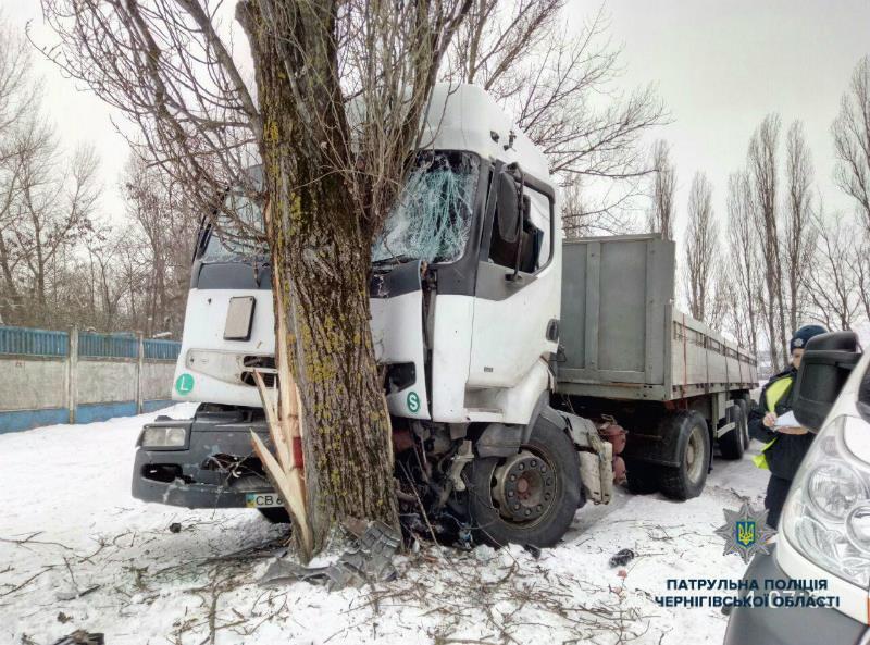 П'яний водій без документів влетів фурою у дерево (Фото)