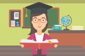 A woman in graduation cap with an open book in hands on the background of classroom vector flat design illustration. Horizontal layout.