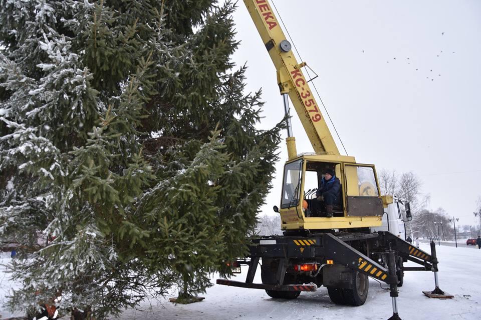 У населених пунктах Чернігівщини продовжують встановлювати новорічні ялинки (Фото)