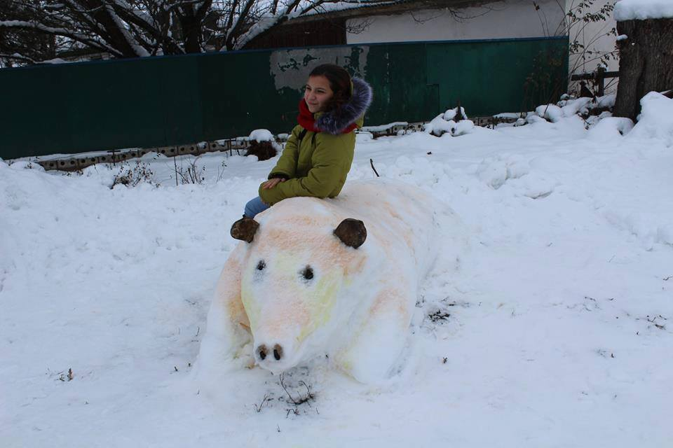 Сніговик-гігант, танк і ведмеді: зимова казка в селі на Чернігівщині (Фото)