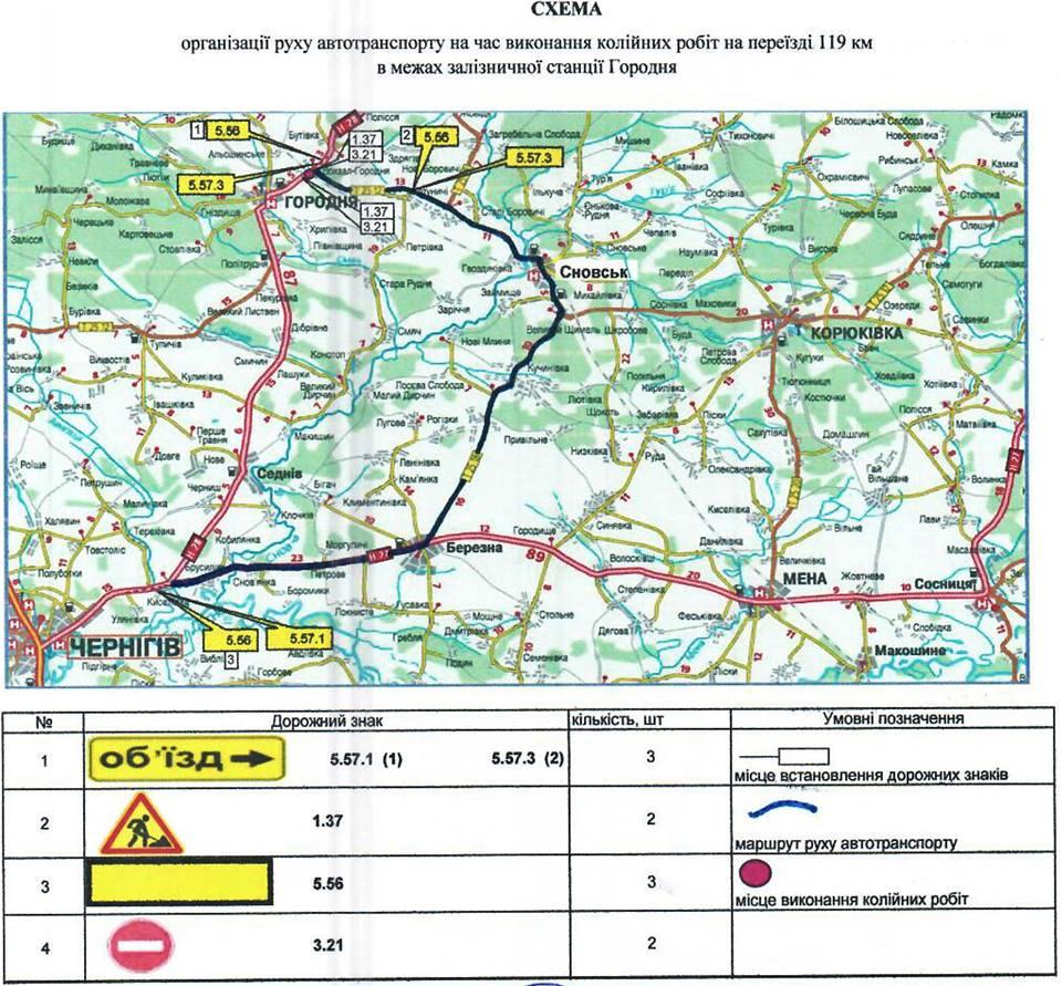 На Чернігівщині майже на два дні перекриють дорогу