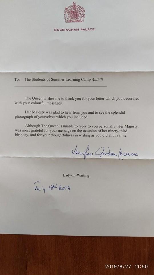 Ніжинські школярі отримали листа від королеви Великої Британії