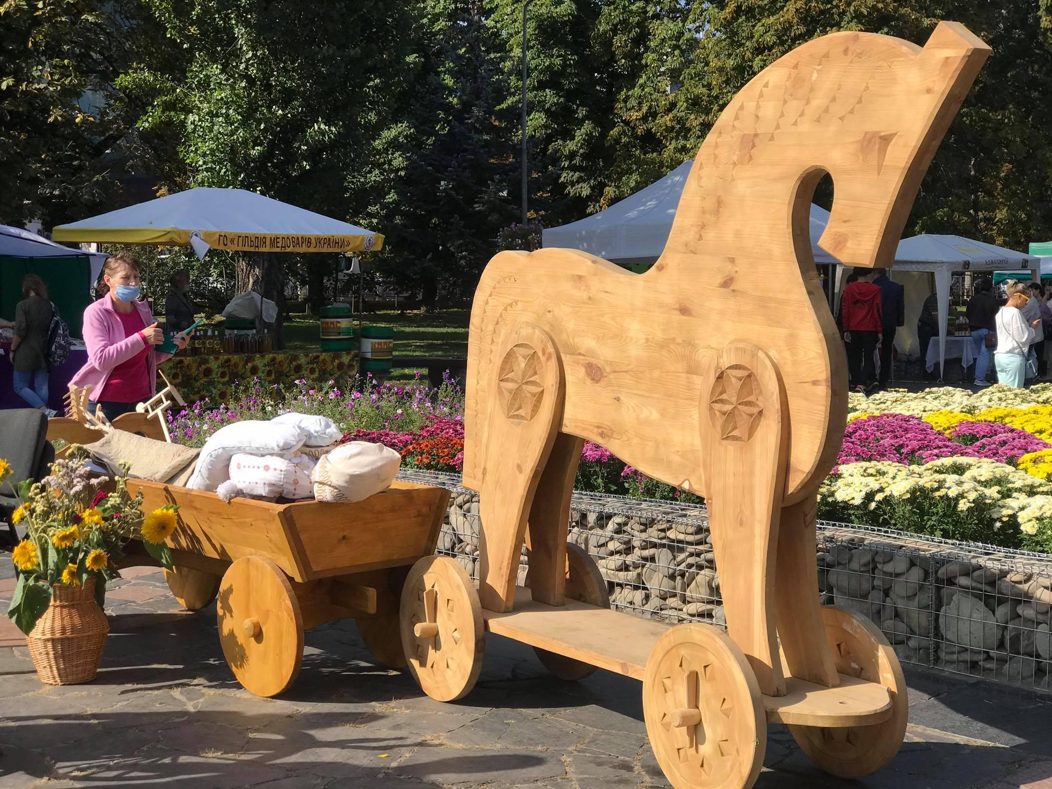 У центрі Чернігова «припнули» коня (Фотофакт)