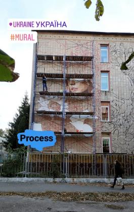 На будівлі навчального закладу на Чернігівщині намалювали велетенський мурал (Фото)