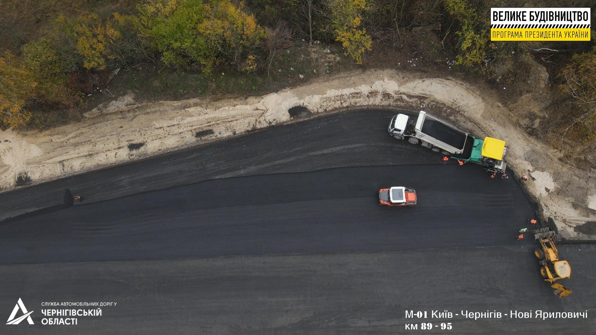 Капремонт київської траси: в роботі дві ділянки по Чернігівській області (Фото)