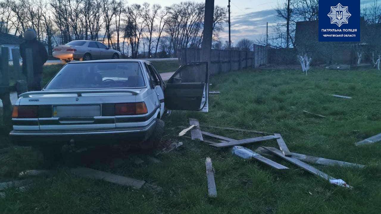 П'яний водій в'їхав у паркан у Кіптях (Фото)