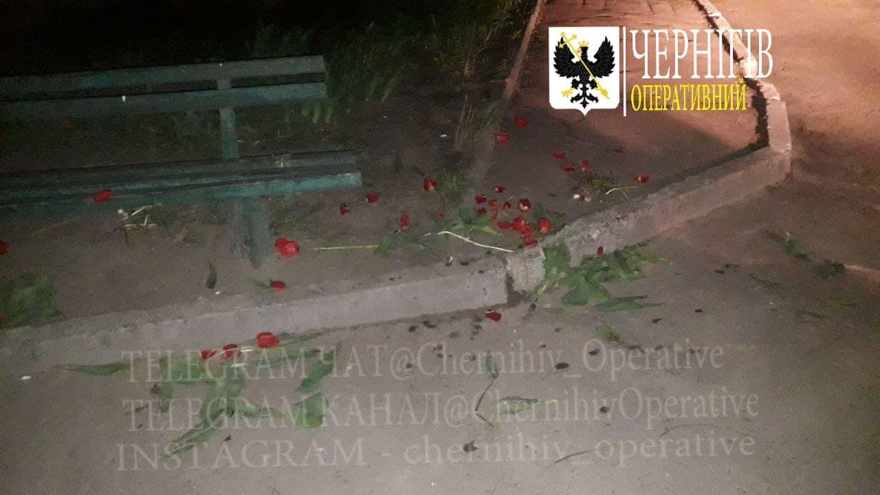 У Чернігові вандали спаплюжили клумбу (Фотофакт)