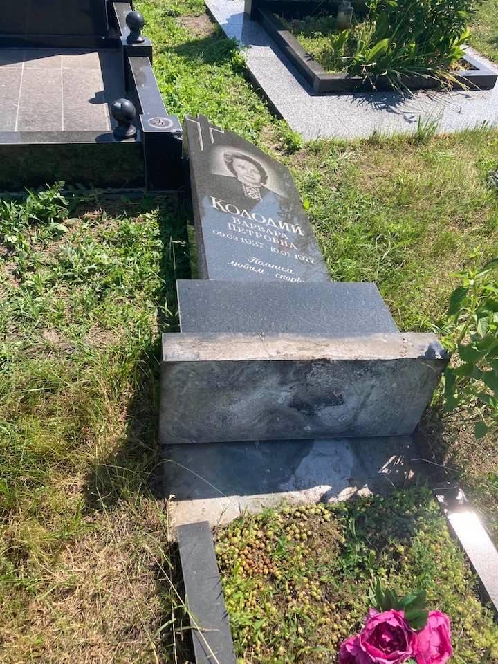 На Чернігівщині невідомі зруйнували пам'ятники на кладовищі (Фотофакт)